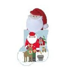 Kathy Schenkel Feeding the Animals w/Santa<br /> mini sock - ornament