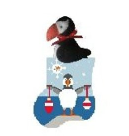 Kathy Schenkel Ornament Puffin w/Puffin mini sock ornament