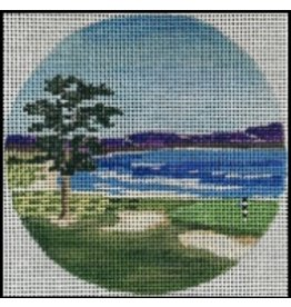 "Purple Palm Designs Pebble Beach Golf Course <br /> 4"" Round<br /> ornament/coaster"