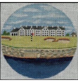 "Purple Palm Designs Carnoustie, Scotland golf course 4"" Round<br /> ornament/coaster"