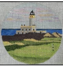 "Purple Palm Designs Turnberry golf course <br /> 4"" Round<br /> ornament/coaster"