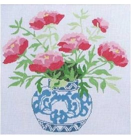 "Jean Smith Designs Peonies in Blue Bowl<br /> 14"" x 14"""