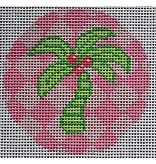 """2 Sisters Needlepoint Green Palm on Pink<br /> 3"""" Round"""