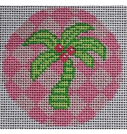 "2 Sisters Needlepoint Green Palm on Pink<br /> 3"" Round"