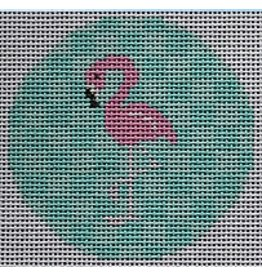 "2 Sisters Needlepoint Pink Flamingo on Aqua<br /> 3"" Round"