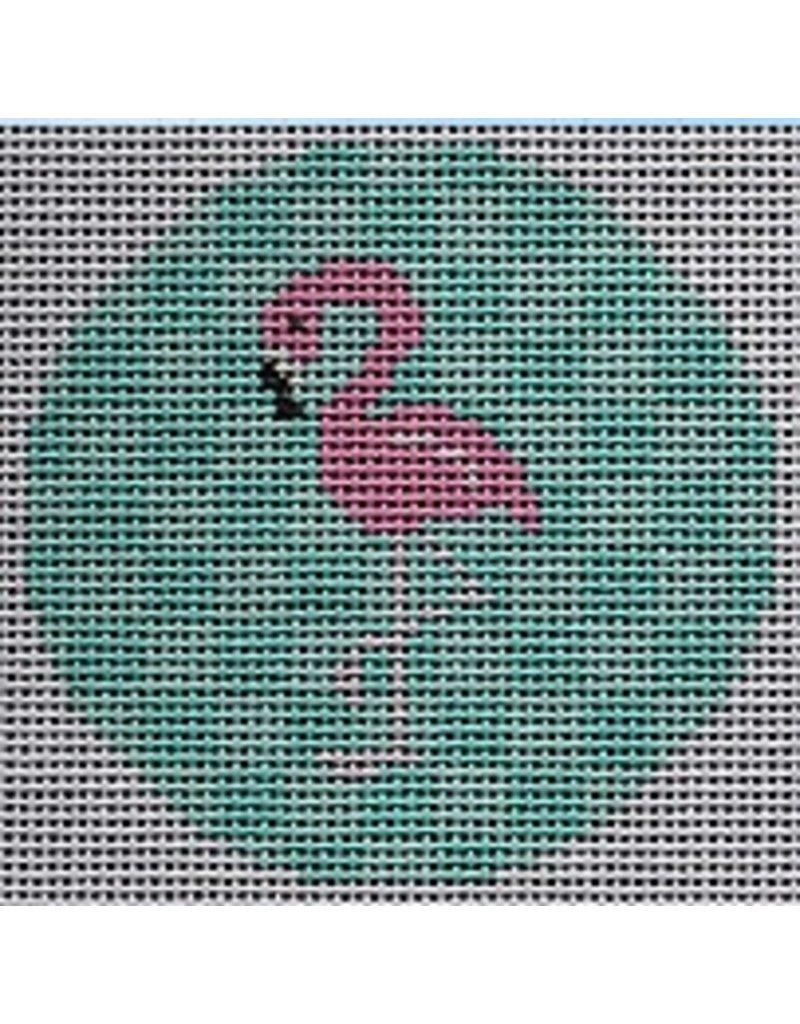 "2 Sisters Needlepoint Pink Flamingo on Aqua<br /> 3"" Round"