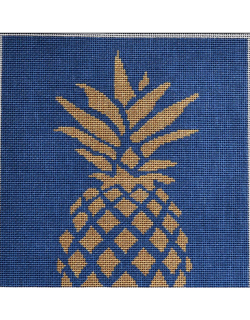 "2 Sisters Needlepoint Pineapple Stencil on Navy<br /> 8"" x 8"""