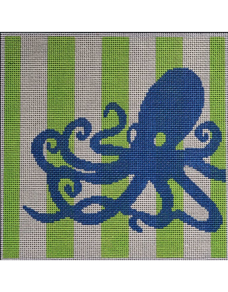 "2 Sisters Needlepoint Octopus Stencil on Lime<br /> 8"" x 8"""