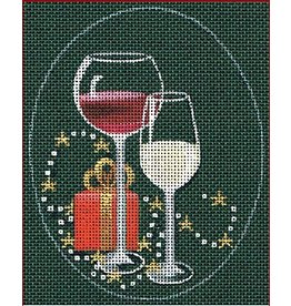 "Leigh Christmas Coasters - Red &amp; White Wine Glasses<br /> 5"" x 4"" Ovals (Stitch Guide Included)"