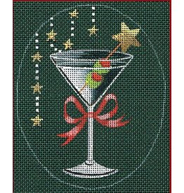 "Leigh Christmas Coaster - Martini - <br /> 5"" x 4"" Oval (Stitch Guide included)"
