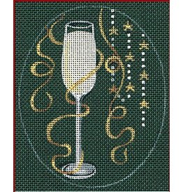 "Leigh Christmas Coasters - Champagne - 5"" x 4"" Oval (Stitch Guide included)"