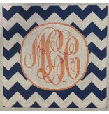 "Associated Talent Chevron Monogram/Navy<br /> 10"" x 10"""