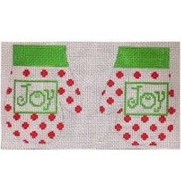 Stitch-It Pair of White & Red Mittens w/JOY