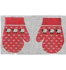 Stitch-It Red mittens with sheep ornaments