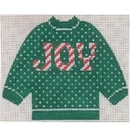 Stitch-It JOY on a Green Pull Over Sweater ornament