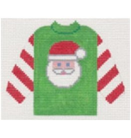 Stitch-It Santa on Green Pull Over Sweater