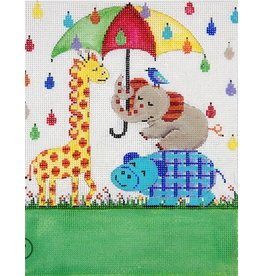 "Alice Peterson Umbrella &amp; Animals Birth Announcement<br /> 10"" x 8"""