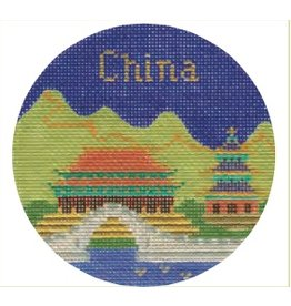 """Colonial Needle China ornament<br /> 4.25"""" Round"""
