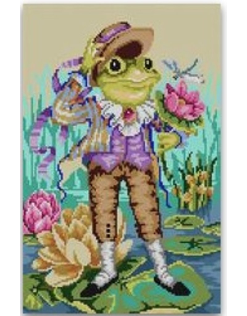 "CBK Needlepoint Mr Frog Goes A Courtin<br /> 8.5"" x 13.5"""