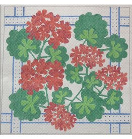 "Kate Dickerson Geraniums Square w/Ribbon<br /> 14"" x 14"""