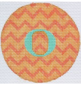 "Kate Dickerson Bright Disk Letter - Orange Zigzag<br /> 4"" Round"