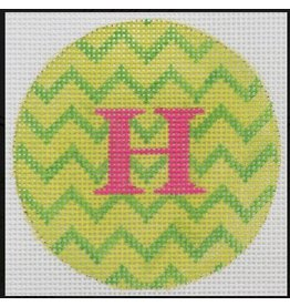 "Kate Dickerson Bright Disk Letter - Lime & Kelly Green Zigzag - 4"" Round"