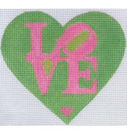 "Kate Dickerson Mini  Heart - Robt Indiana style LOVE -  flamingo on kelly w/lime<br /> ornament   3.75"" x 3.25"""
