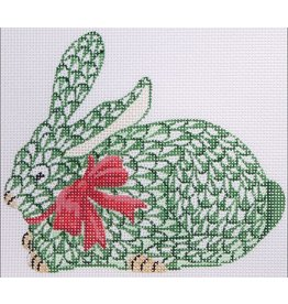 Kate Dickerson Christmas ornament - Herend-style Crouching Bunny w/Ribbon - green w/red & gold