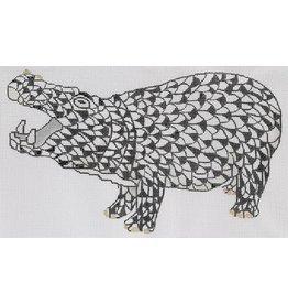 """Kate Dickerson Herend inspired  Black Hippo<br /> 9.25"""" x 5.5"""""""