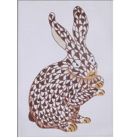 "Kate Dickerson Herend inspired Standing Bunny brown/gold<br /> 6.5"" x 10.5"""