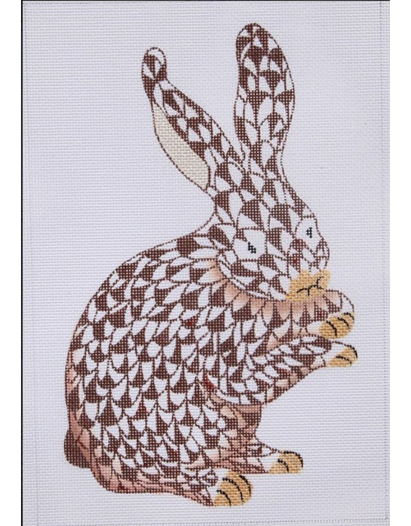 Kate Dickerson Herend inspired Standing Bunny brown/gold<br /> 6.5 ...