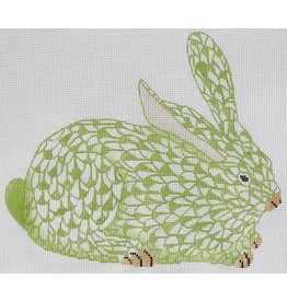 Kate Dickerson Herend inspired Crouching Bunny - lime w/gold (facing right)