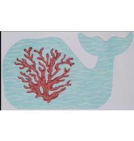 """Kate Dickerson Medium Whale - Coral on the Caribbean<br /> 12.5"""" x 7.5"""""""