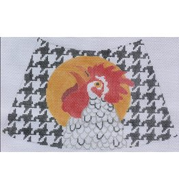 """Kate Dickerson Jack Dickerson Rooster on B&amp;W houndstooth<br /> 7"""" x 5"""""""