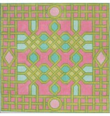"""Kate Dickerson Celtic Trellis<br /> Pink, Green &amp; Tourquoise<br /> 14"""" x 14"""""""
