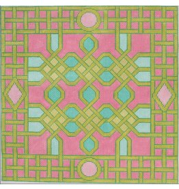 "Kate Dickerson Celtic Trellis<br /> Pink, Green &amp; Tourquoise<br /> 14"" x 14"""
