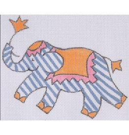 "Kate Dickerson Elephant - Purple w/White Stripes 11"" x 8.5"""