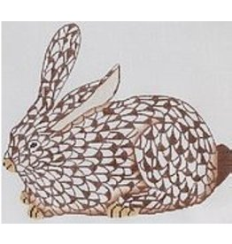 """Kate Dickerson Herend inspired Crouching Bunny - brown w/gold - facing left<br /> 6.5"""" x 10.5"""""""