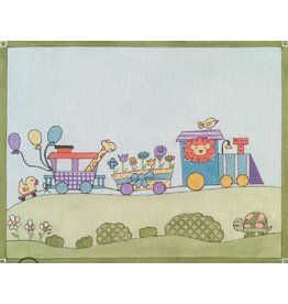 "Alice Peterson Animal Train Birth Announcement<br /> 11.5"" x 9"""
