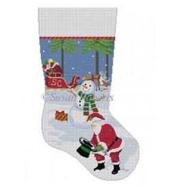 "Susan Roberts Snowman's Hat &amp; Santa Stocking<br /> 19"" High"