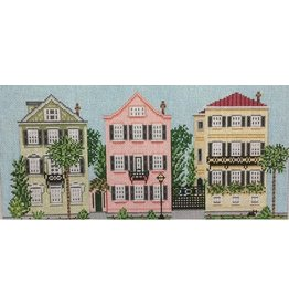 "Needle Crossing Three Sisters Houses on Meeting Street <br /> 12"" x 5.75"""