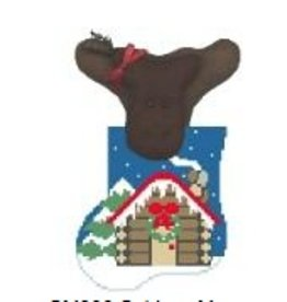 Kathy Schenkel Log Cabin w/Moose ornament