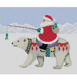 "Susan Roberts Santa Riding Polar Bear<br /> 5"" x 5"""