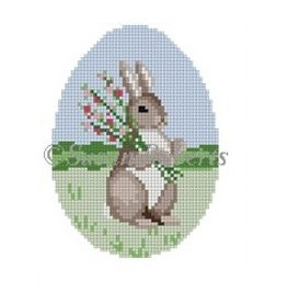 "Susan Roberts Bunny with Flowers -<br /> ornament<br /> 3"" x 4"""
