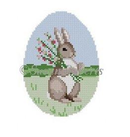 Susan Roberts Rabbit w/Cardinal, oval egg - ornament