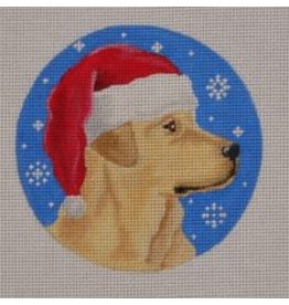 "Pepperberry Design Yellow Lab Santa ornament<br /> 4"" Round"