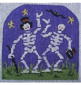 "All About Stitching Dancing Skeltons<br /> 3.5"" x 3.5"""