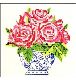 "Jean Smith Designs Small Blue Vase of Roses<br /> 8"" x 8"""