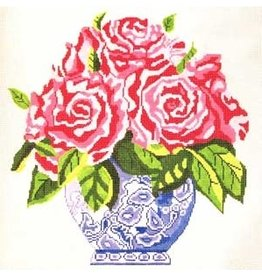 "Jean Smith Designs Large Blue Vase of Pink Flowers<br /> 14"" x 14"""
