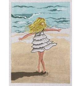 "Patti Mann Little  Girl Twirling on the Beach12"" x 9"""
